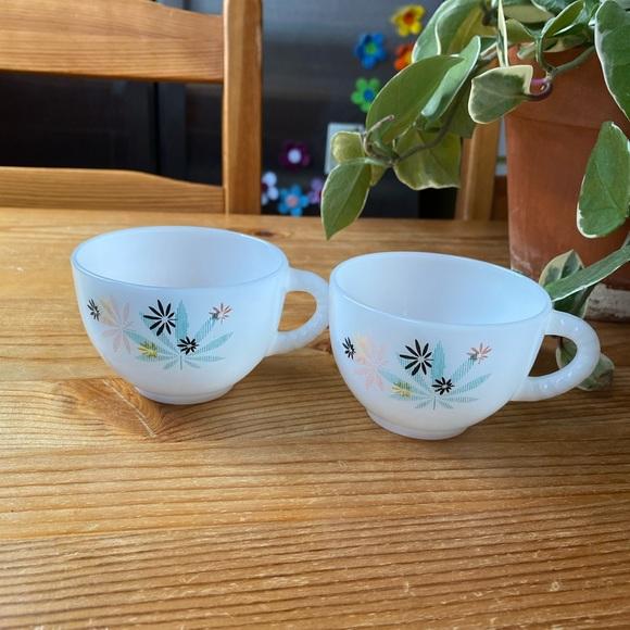 Vintage Milk Glass Tea Cups
